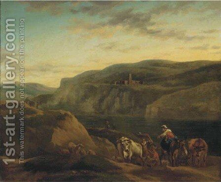 An Italianate landscape with shepherds and their flocks by (after) Nicolaes Berchem - Reproduction Oil Painting