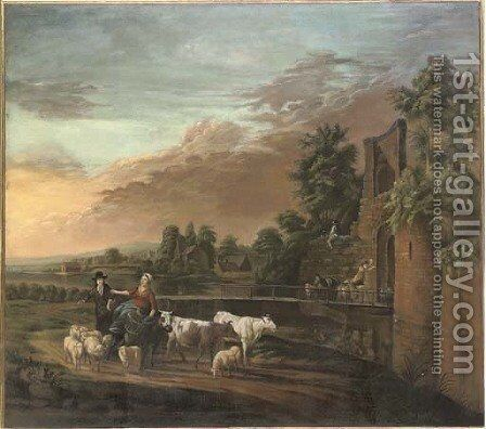A river landscape with a shepherd and shepherdess on a track with their flock and cattle by (after) Nicolaes Berchem - Reproduction Oil Painting