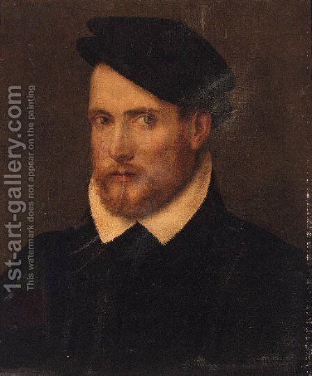 Portrait of a nobleman, bust-length, in a black cap by (after) Paris Bordone - Reproduction Oil Painting