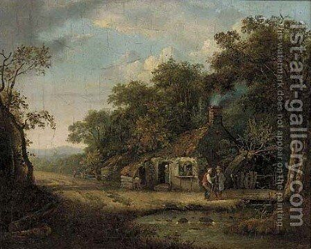 Figures by a riverside cottage by (after) Patrick Nasmyth - Reproduction Oil Painting