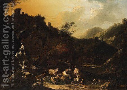 Italianate Landscapes with Drovers, Cattle and Sheep by (after) Philipp Peter Roos - Reproduction Oil Painting