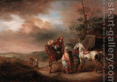 Huntsmen resting their horses by (after) Philips Wouverman - Reproduction Oil Painting