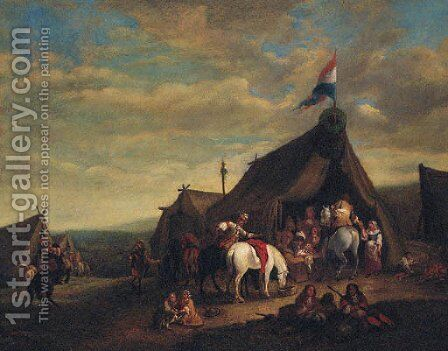 A cavalry encampment by (after) Philips Wouwerman - Reproduction Oil Painting