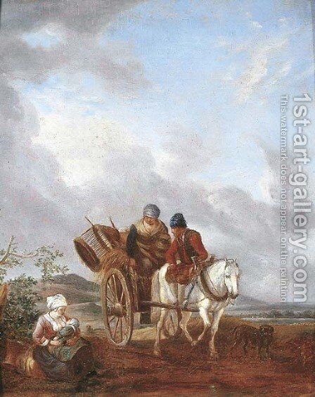A landscape with travellers in a pony trap, a mother feeding her baby nearby by (after) Philips Wouwerman - Reproduction Oil Painting