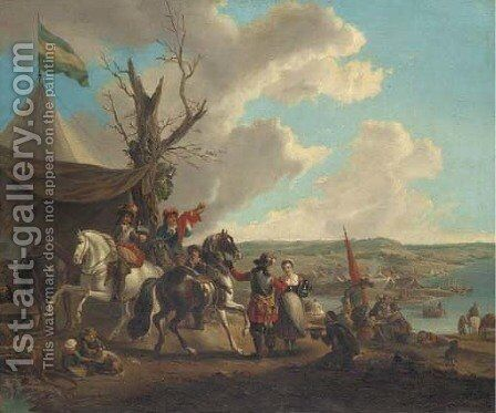 A military encampment by (after) Philips Wouwerman - Reproduction Oil Painting