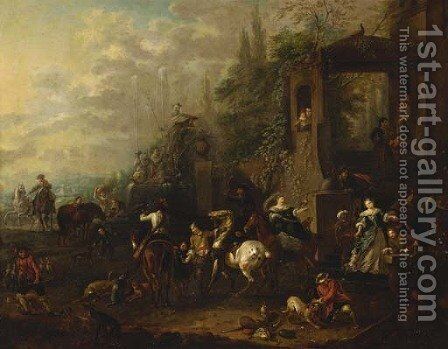 An elegant hawking party before a mansion by (after) Philips Wouwerman - Reproduction Oil Painting