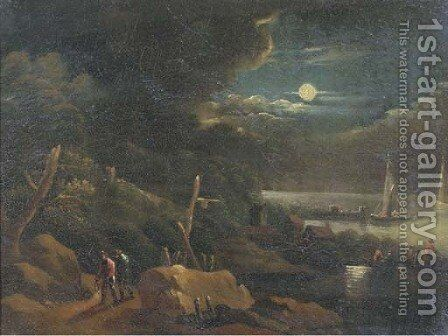 A coastal landscape by moonlight with travellers on a path and figures in a rowing boat by (after) Pieter Bout - Reproduction Oil Painting