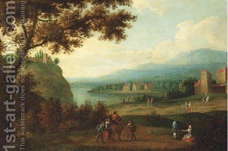 Travellers on a path, a riverlandscape in the distance by (after) Adriaen Frans Boudewijns - Reproduction Oil Painting