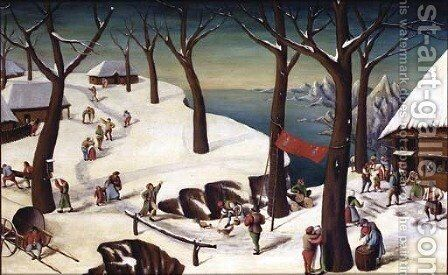 A winter landscape with peasants by (after) Pieter The Elder Bruegel - Reproduction Oil Painting