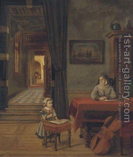 A mother and child in an interior by (after) Pieter De Hooch - Reproduction Oil Painting