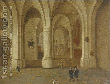 A church interior with elegant figure in the foreground by (after) Pieter Neefs - Reproduction Oil Painting