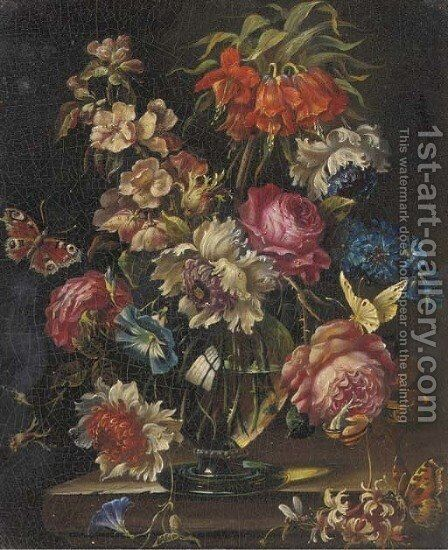 Mixed flowers in a glass vase on a ledge, with a snail and two butterflies by (after) Rachel Ruysch - Reproduction Oil Painting