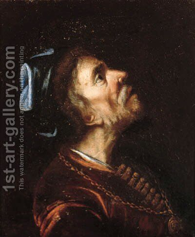 A man in oriental costume, a fragment by Rembrandt - Reproduction Oil Painting