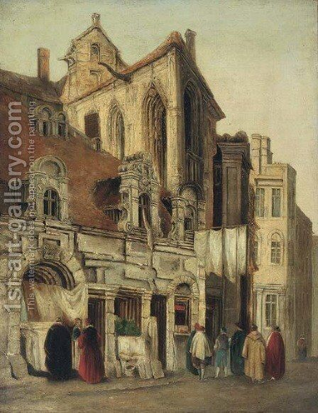 Figures conversing before a gothic church by (after) Richard Parkes Bonington - Reproduction Oil Painting