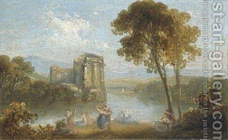 Figures resting in an Italianate landscape; and Figures dancing by a ruined temple and a lake by (after) Richard Wilson - Reproduction Oil Painting