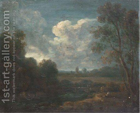 A figure resting on a riverbank with a town beyond by (after) Richard Wilson - Reproduction Oil Painting
