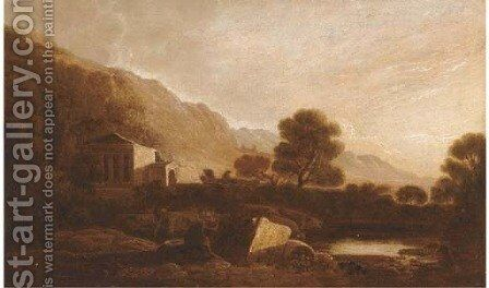 A temple in an Italianate landscape by (after) Richard Wilson - Reproduction Oil Painting