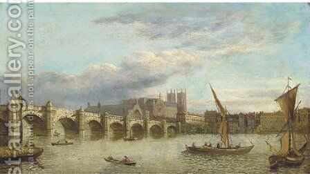 Vessels on the Thames, with Westminster Bridge and Abbey beyond; and View down the Thames of London Bridge by (after) Samuel Scott - Reproduction Oil Painting