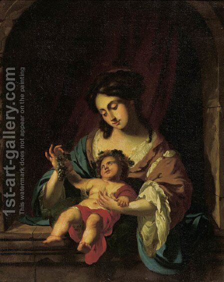 The Madonna and Child in a feigned stone niche by (after) Simon Vouet - Reproduction Oil Painting