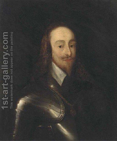 Portrait of King Charles I, bust-length, in armour by (after) Dyck, Sir Anthony van - Reproduction Oil Painting