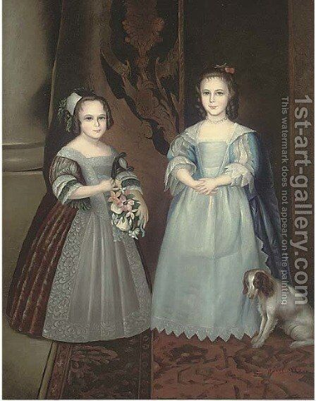 Portrait of two sisters, full-length, one in a blue dress, the other in a brown dress holding a bouquet of flowers by (after) Dyck, Sir Anthony van - Reproduction Oil Painting