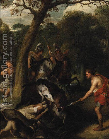 A Boar Hunt by (after) Sir Peter Paul Rubens - Reproduction Oil Painting
