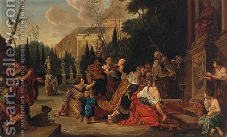 A King With His Courtiers Worshipping Before A Statue by (after) Sir Peter Paul Rubens - Reproduction Oil Painting
