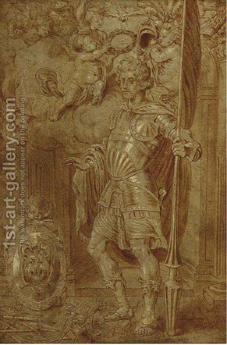 A personification of Victory by (after) Sir Peter Paul Rubens - Reproduction Oil Painting