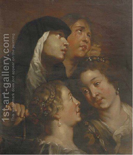A study of four female heads by (after) Sir Peter Paul Rubens - Reproduction Oil Painting