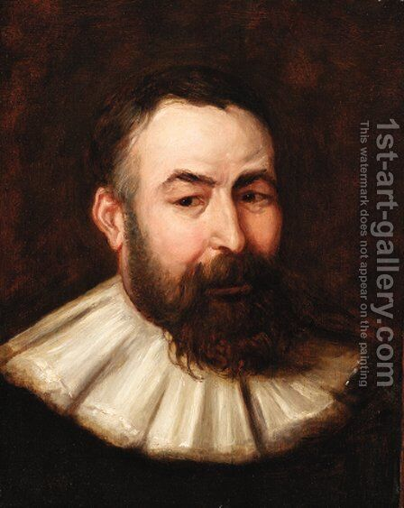 Portrait of a bearded gentleman, bust-length, in a white collar by (after) Sir Peter Paul Rubens - Reproduction Oil Painting