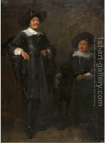 Portrait of two gentlemen, said to be Jan Tulp and Dirck Ruykhaver, full lengths, wearing black costumes with lace collars and cuffs and black hats by (after) Thomas De Keyser - Reproduction Oil Painting