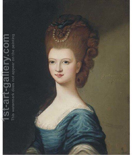 Portrait of a lady, bust-length, in a blue dress by (after) Gainsborough, Thomas - Reproduction Oil Painting