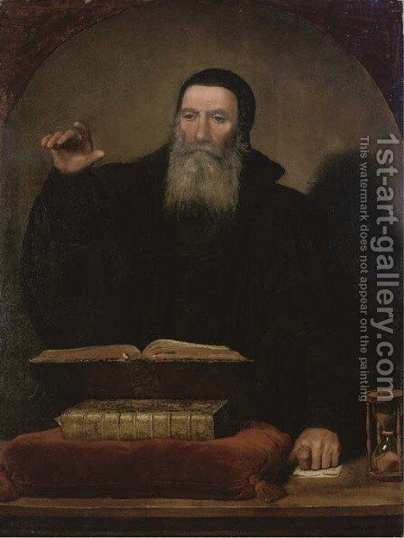 A cleric by Tiziano Vecellio (Titian) - Reproduction Oil Painting
