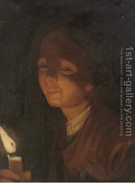 A boy carrying a candle by (after) Trophime Bigot - Reproduction Oil Painting