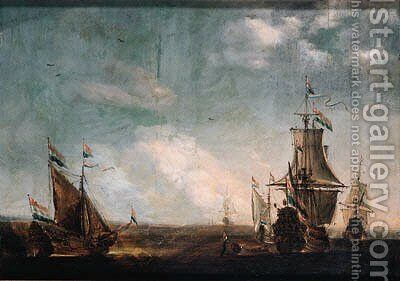 A calm an Amsterdam man-of-war with a state yacht at sea, other shipping nearby by (after) Willem Van De, The Younger Velde - Reproduction Oil Painting