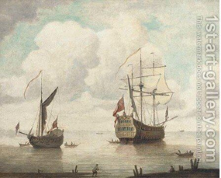 The flagship departing from her anchorage by (after) Willem Van De, The Elder Velde - Reproduction Oil Painting