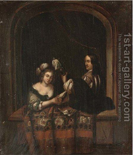 A music recital at a casement by (after) Willem Van Mieris - Reproduction Oil Painting