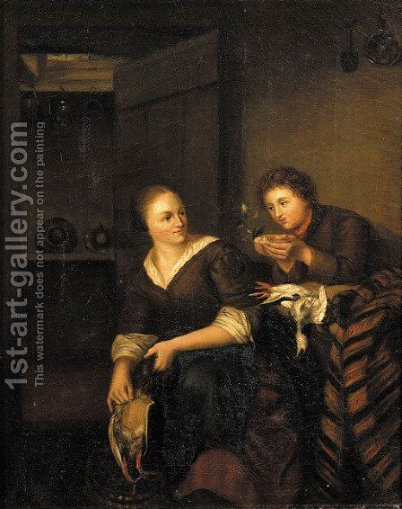A Vanitas A man courting a maid in an interior by (after) Willem Van Mieris - Reproduction Oil Painting