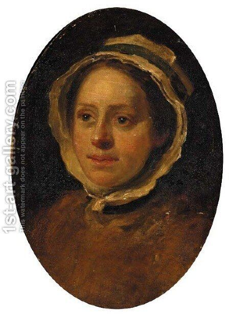 Portrait of a woman, head-and-shoulders, a study by (after) William Hogarth - Reproduction Oil Painting