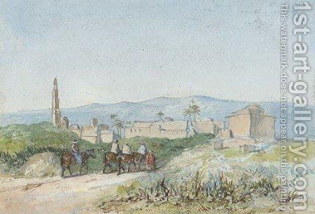 Travellers on horseback approaching a Palestinian town, possibly Lydda by (after) William James Muller - Reproduction Oil Painting