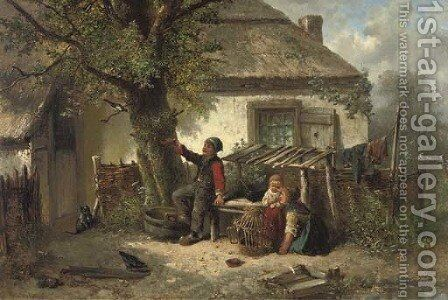 Luring the magpie back into the cage by Jan Mari Henri Ten Kate - Reproduction Oil Painting