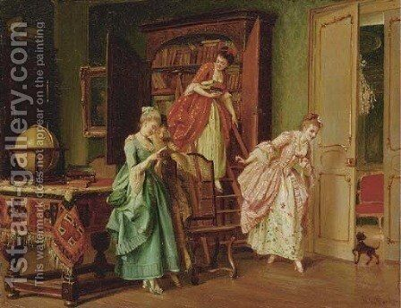 The Secret Reading by Marie De Garay - Reproduction Oil Painting