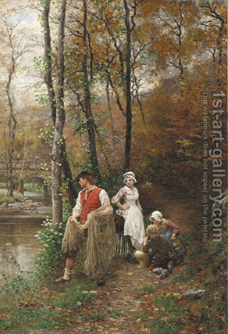 Fishing Along the Riverbank by Marie Francois Firmin-Girard - Reproduction Oil Painting
