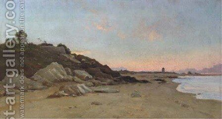 A stretch of coastline at dusk by Marie Joseph Leon Clavel Iwill - Reproduction Oil Painting