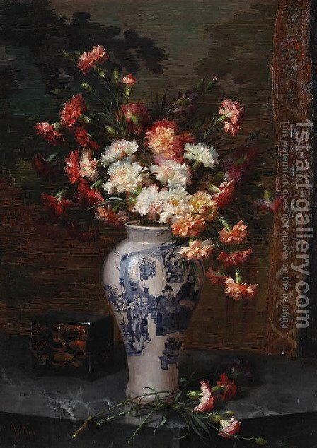 An oppulent still life in a oriental vase by Marie Nyl-Frosch - Reproduction Oil Painting