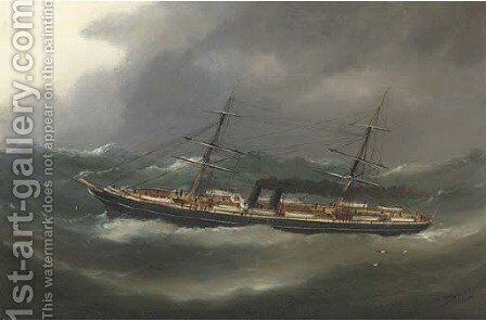 A P. & O. steamer reefed down in heavy seas by Marie-Edouard Adam Of Le Havre - Reproduction Oil Painting