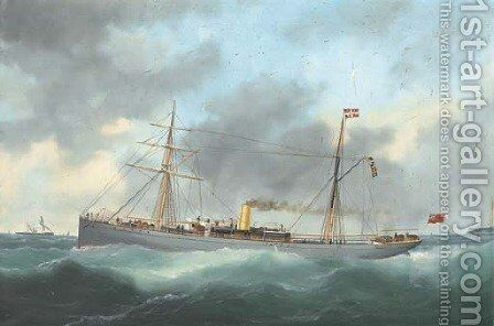 The British steamer Rex running out of Le Havre by Marie-Edouard Adam Of Le Havre - Reproduction Oil Painting