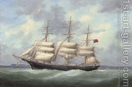 The full-rigger Austriana reducing sail and calling for a pilot by Marie-Edouard Adam Of Le Havre - Reproduction Oil Painting