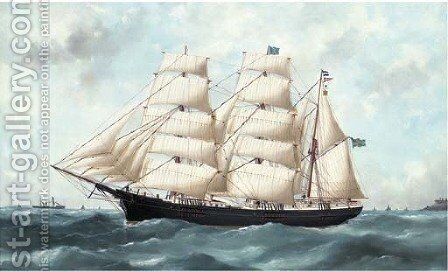 The Swedish barque Wakefield running out of Le Havre by Marie-Edouard Adam Of Le Havre - Reproduction Oil Painting