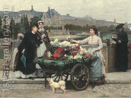 The Flower Seller on the Pont Royal with the Louvre beyond, Paris by Marie Francois Firmin-Girard - Reproduction Oil Painting